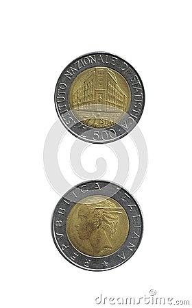 Monedas italianas: viejas 500 liras