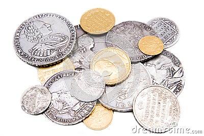 Monet złocisty odosobniony stary rosjanina srebra whit
