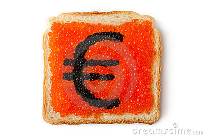 Monetary Euro sandwich with caviar