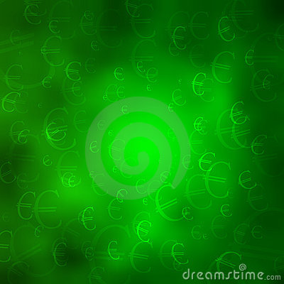 Monetary symbols on a green cloud background