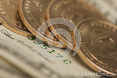 Monete & fatture astratte del dollaro di Stati Uniti