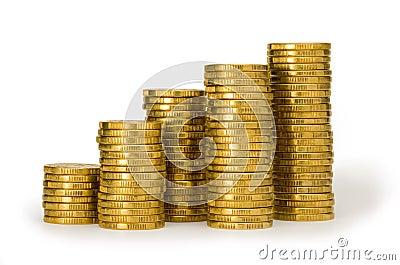 Monety złota stosu plik pieniędzy