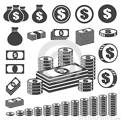Free Money And Coin Icon Set. Stock Photos - 29623103