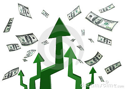 Money arrows target
