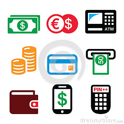 Free Money, ATM - Cash Machine Vector Icons Set Royalty Free Stock Photography - 66881737