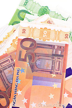 Money background in EURO notes.