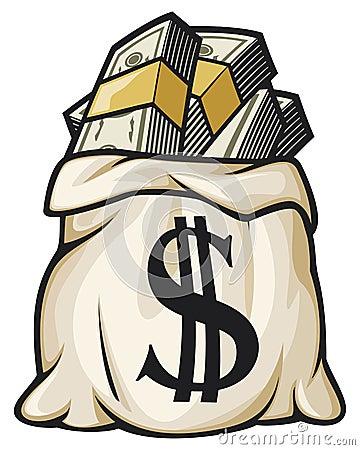 Money bag filled dollars
