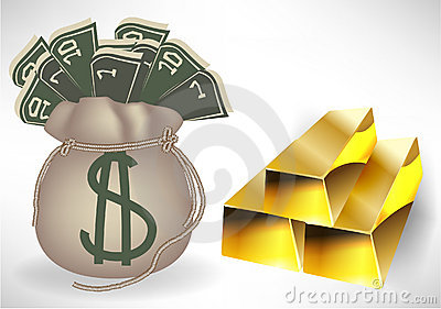 Money bag with golden bars
