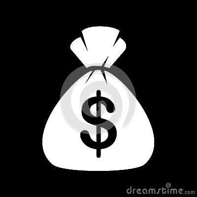 Free Money Bag Icon On Black Background. Vector Royalty Free Stock Photography - 46193297