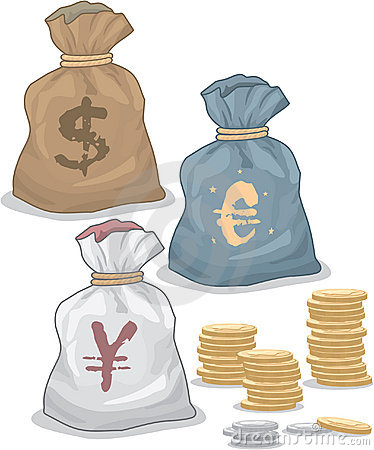 Money Bags with different Currency