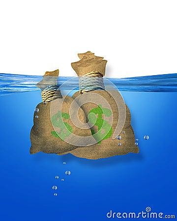 Money bags in water