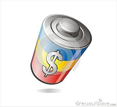 Money battery illustration
