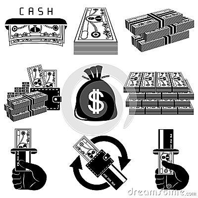 Free Money Black And White Icon Set Royalty Free Stock Photos - 15698168