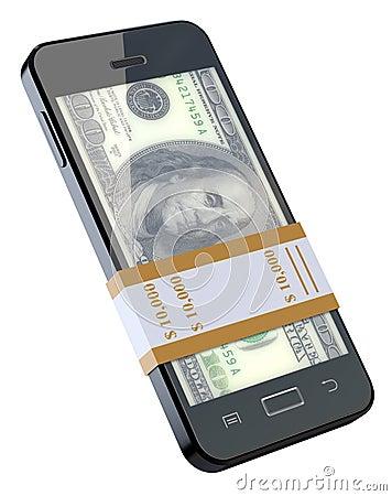 Money in black mobile phone