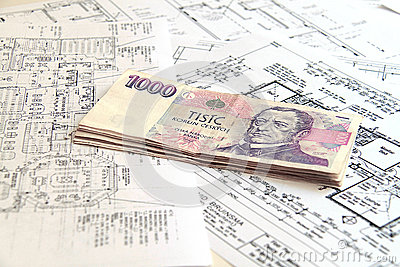 Money on blueprints