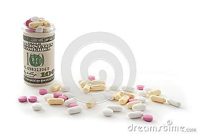 Money bottle full of pills