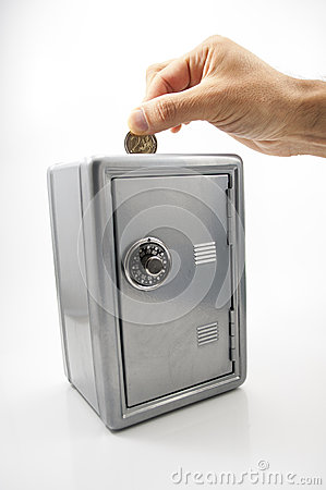 Money box with coin