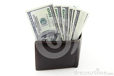 Money in brown leather purse