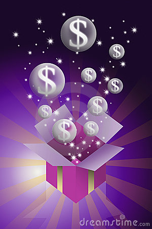 Money bubble flying from gift box