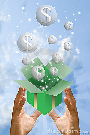Money bubble flying from gift box with sky