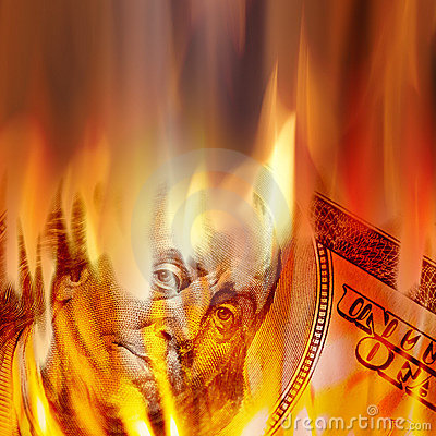 Free Money Burning In Flames Royalty Free Stock Photography - 16934007