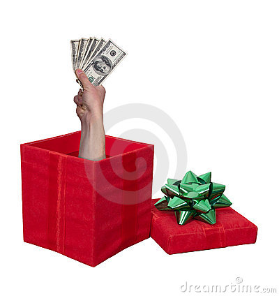 Money Cash Christmas Present Gift Box Isolated