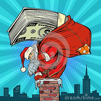 Free Money Cash Dollars. Santa Claus With Gifts Climbs Into The Chimn Royalty Free Stock Photo - 124787305