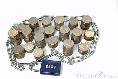 Money in Chain and Padlock