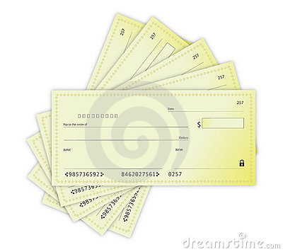 Money Checks illustration design over a white back