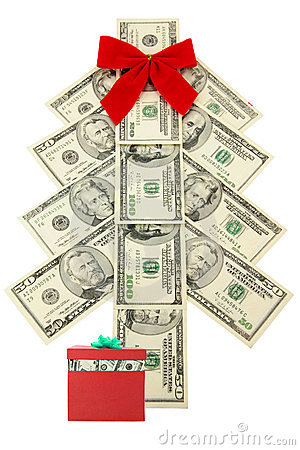 Money Christmas tree and gift
