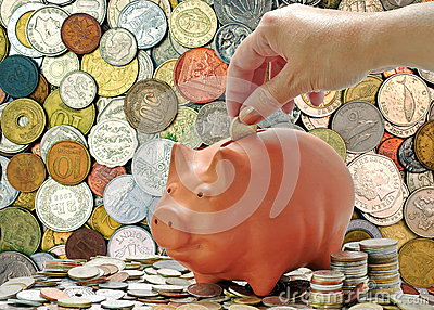 Background of money. Money coins and piggy bank. Economic concept
