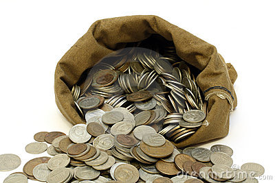 Money coins pour out from bag