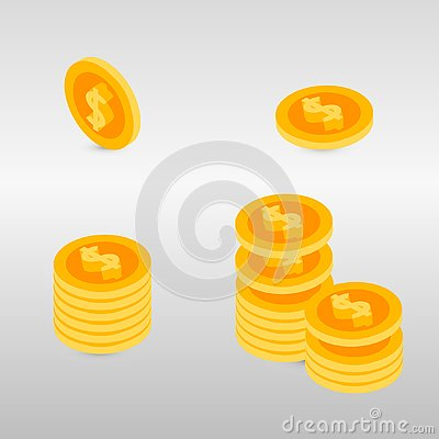Free Money. Coins Stack Vector Illustration Royalty Free Stock Photography - 125685597