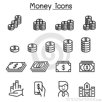 Free Money, Currency, Cash, Coins & Bank Notes Icon Set In Thin Line Stock Image - 130652961