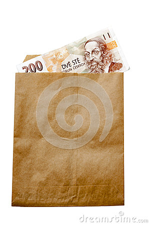 Money of Czech Republic in paper envelop