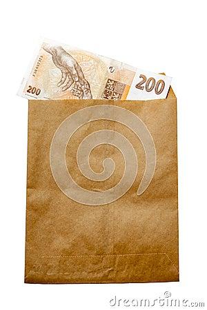 Money of Czech Republic in paper envelop