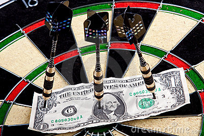 Money on dartboard