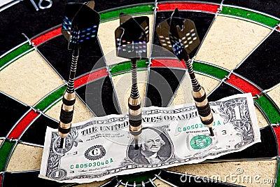 Money on dartboard