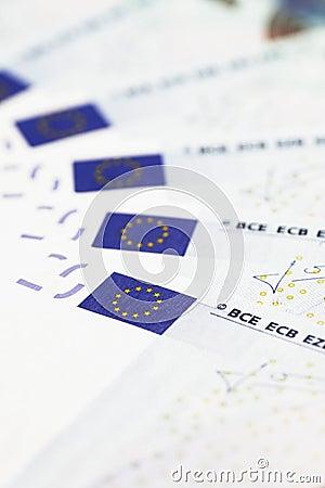 Money Detail - EU Flags On 20 Euro Notes