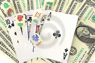 Money, dice and playing cards