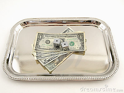 Money and Dice on a Silver Tray