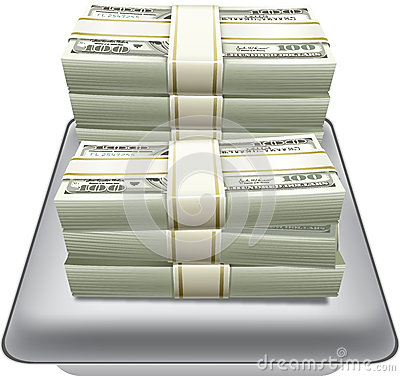 Money dollar in Silver tray vector