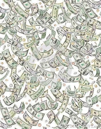 Money Dollars Coins Falling Raining