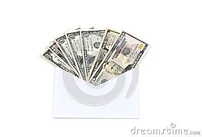 Money in dollars in an envelope