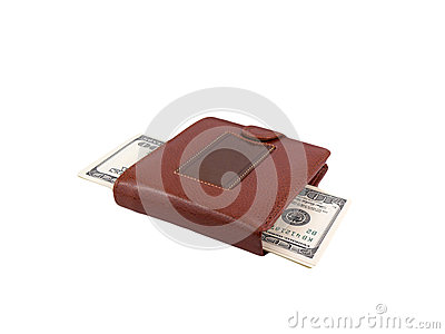 Money dollars in leather purse isolated on white