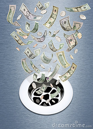 Free Money Down The Drain Stock Photos - 20599573