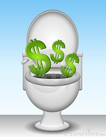 Free Money Down The Toilet Royalty Free Stock Photos - 5402928