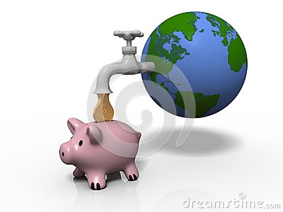 Money drop from Earth through a faucet
