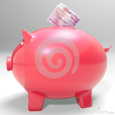 Money Entering Piggybank Shows Saving Incomes