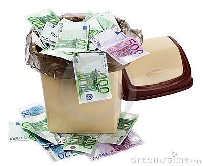 Money euro in bin. Currency collapse.